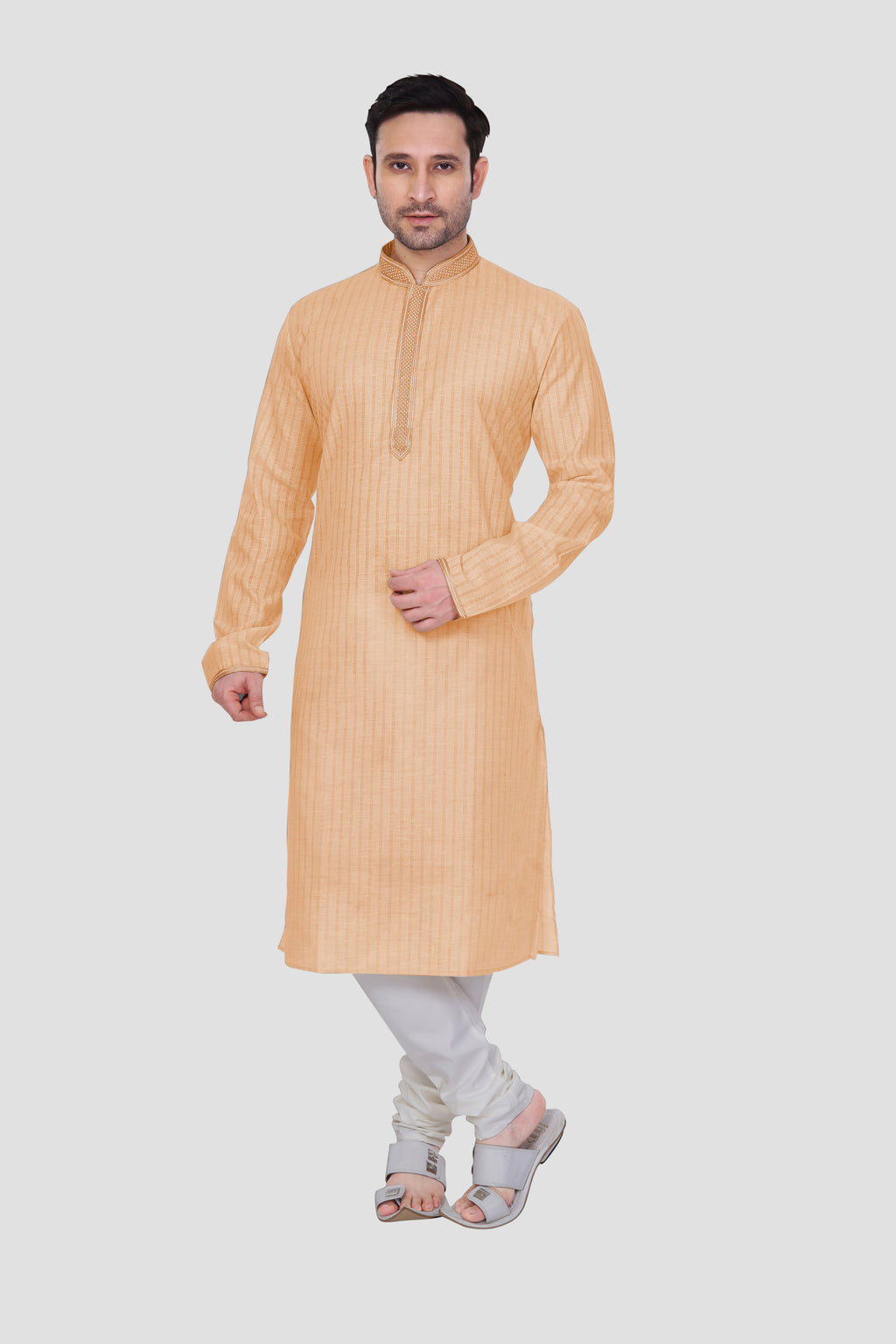 Ethniz - Men's Sherbet Orange Kurta with Churidar