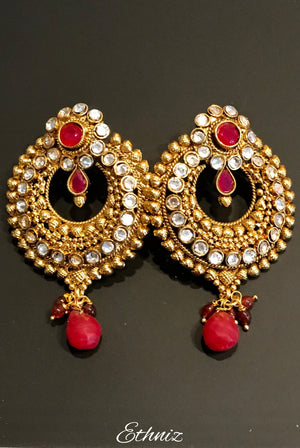 Rose Gold stone Earring with dangling red stone 002