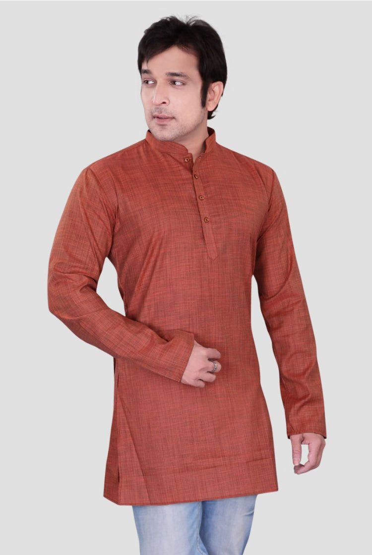 Ethniz - Men's Rust Red Dupion Plain Short Kurta