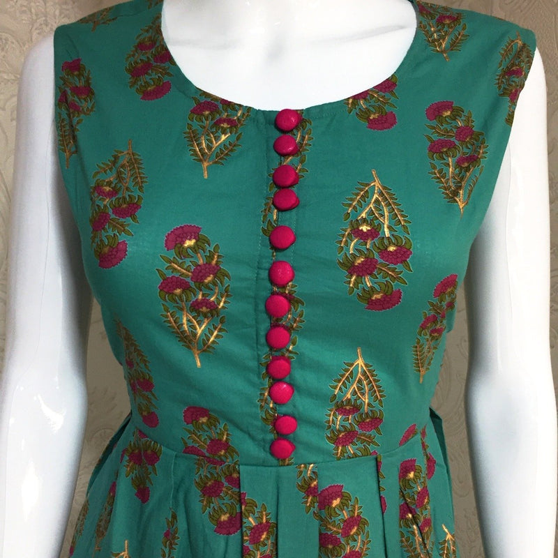 Ethniz - Sea Green Anarkali Cotton Kurti