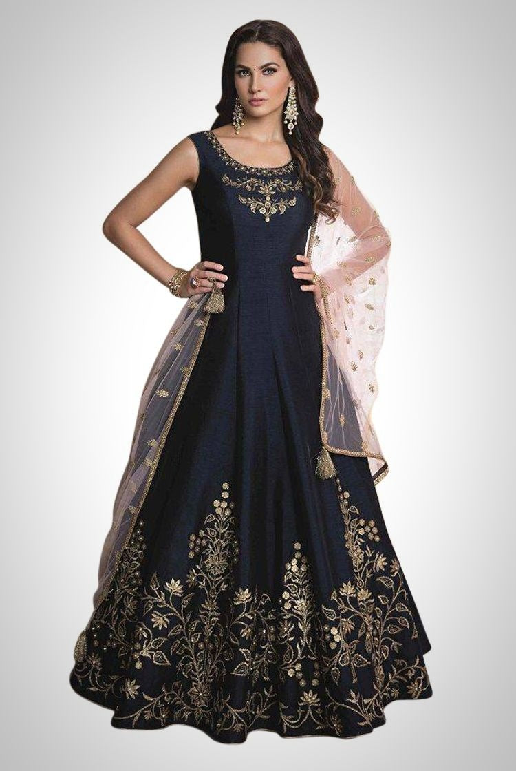 Heavy Anarkali Gown in Navy Blue