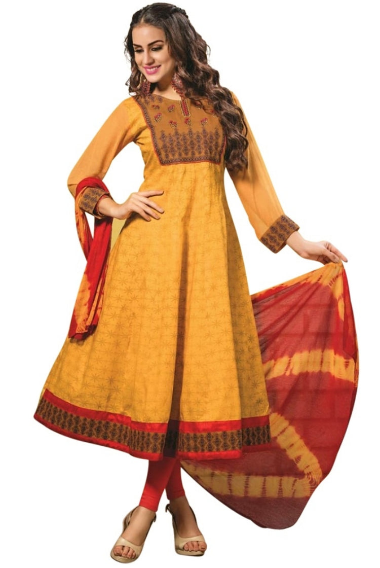 Yellow Cotton Anarkali Kurti 3 pc Set