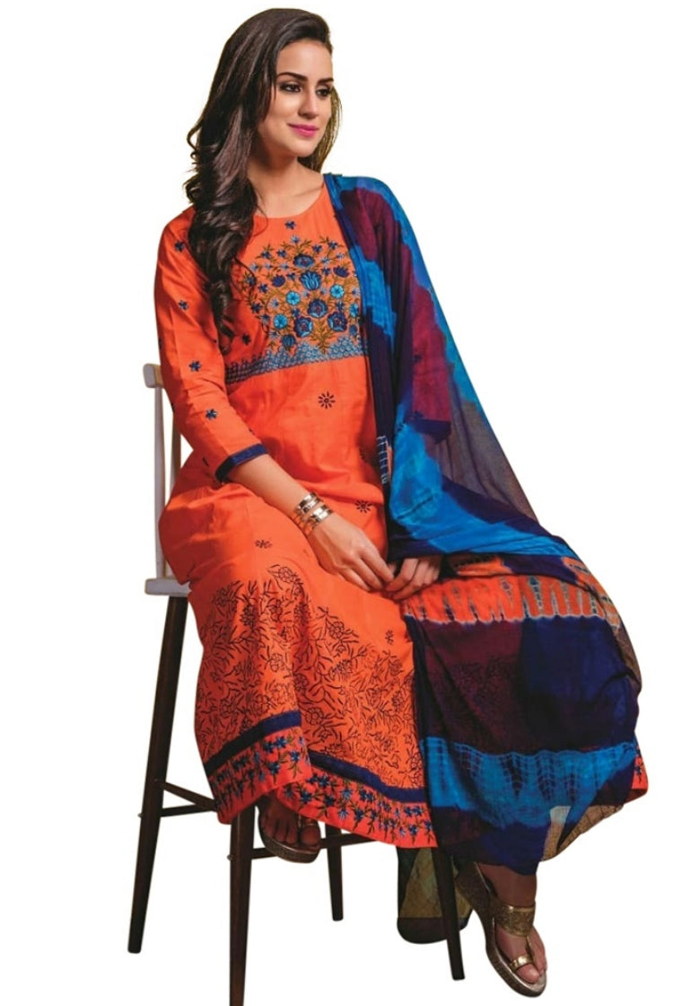 Orange Cotton Anarkali Kurti 3 pc Set