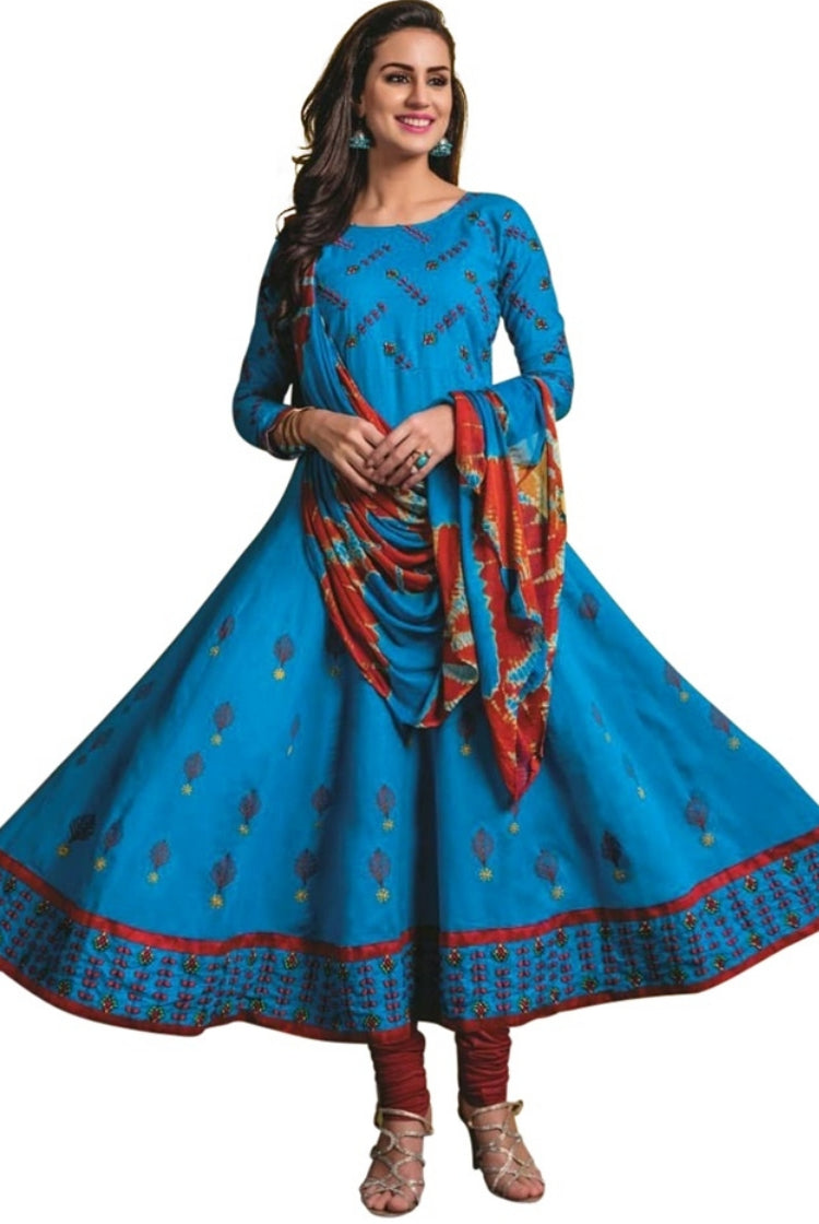 Blue Cotton Anarkali Kurti 3 pc Set