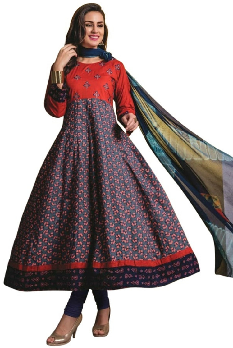 Red Print Cotton Anarkali Kurti 3 pc Set