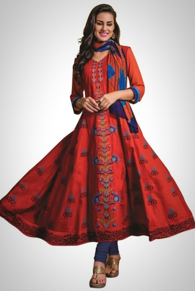 Red Cotton Anarkali Kurti 3 pc Set