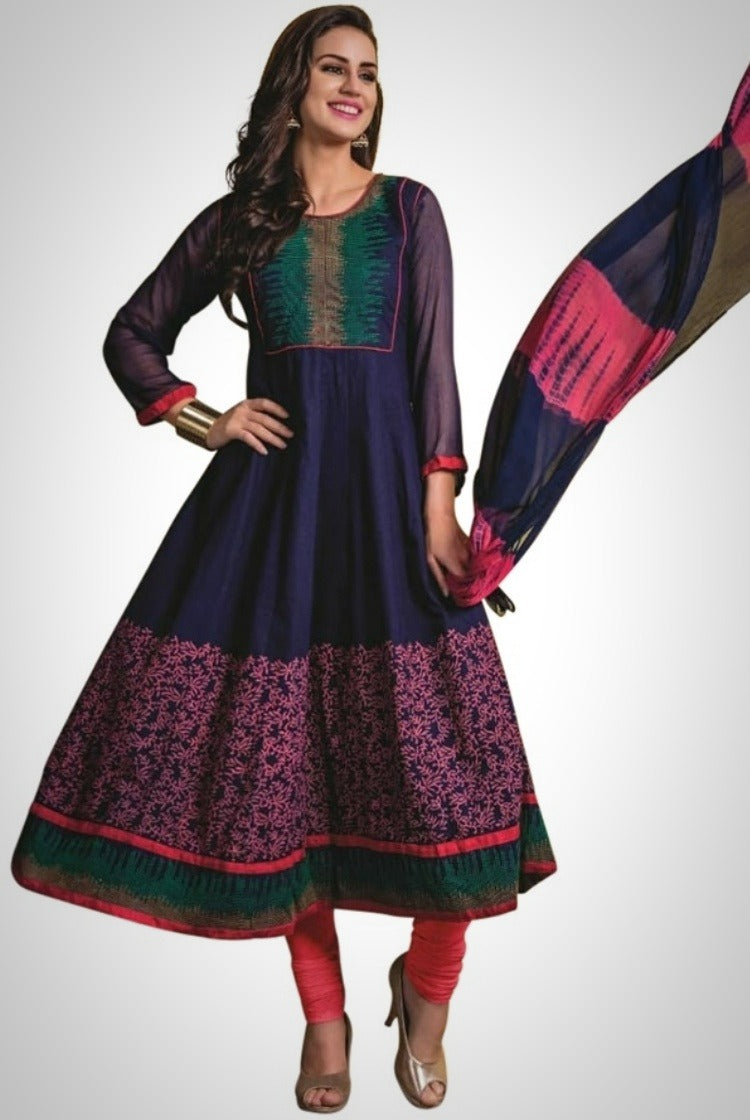Navy Blue Cotton Anarkali Kurti 3 pc Set