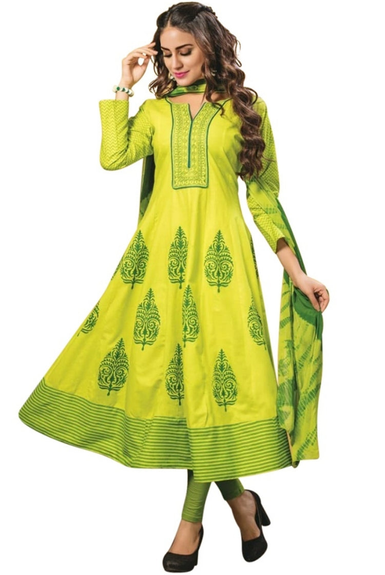 Green Cotton Anarkali Kurti 3 pc Set