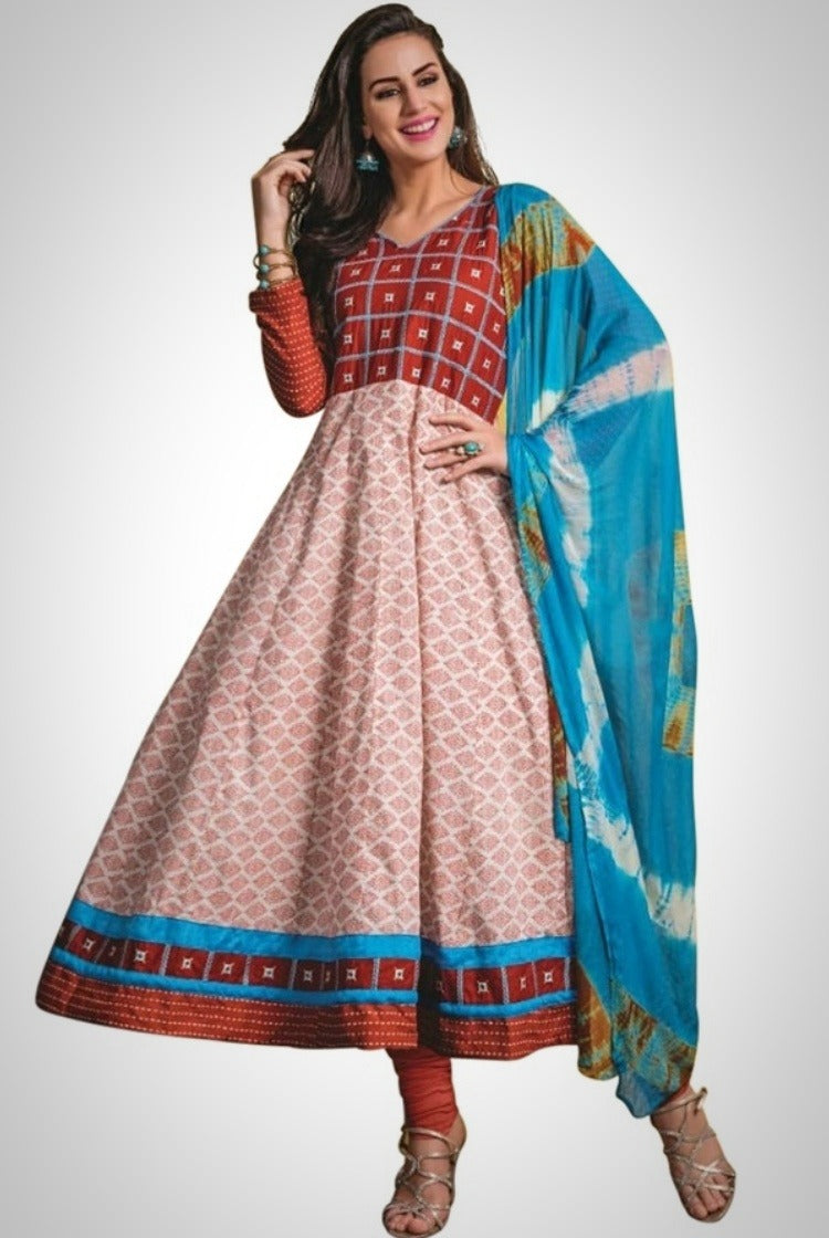White Print Cotton Anarkali Kurti 3 pc Set