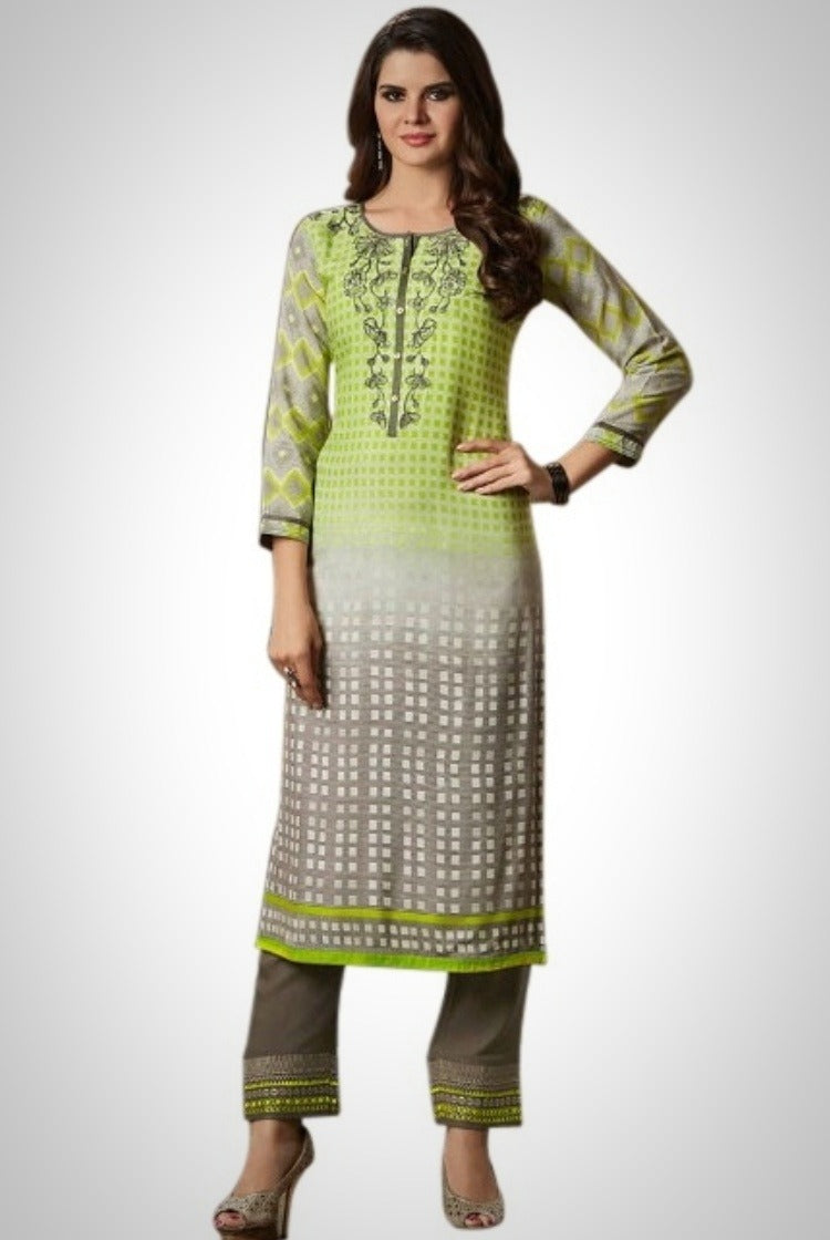 Printed Embroided Kurti & Pants set - Green Check