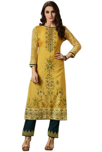 Printed Embroided Kurti & Pants set - Mustard Yellow