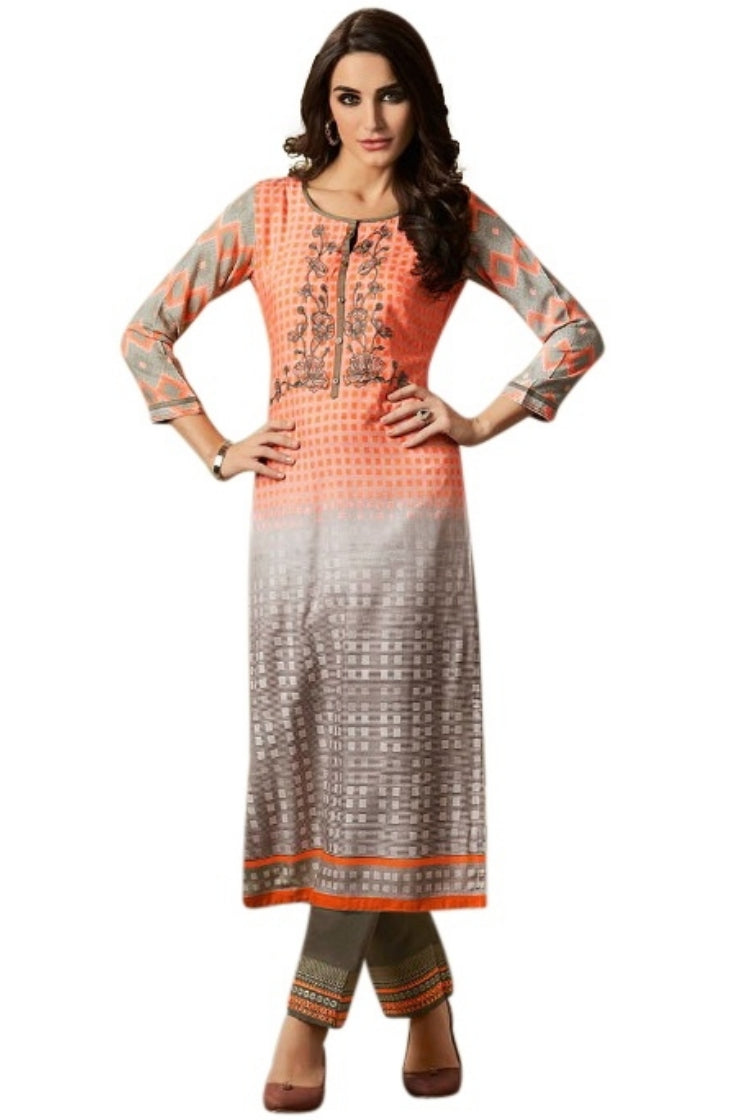 Printed Embroided Kurti & Pants set -Orange Check
