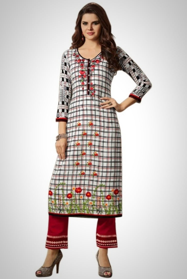Printed Embroided Kurti & Pants set - White Check