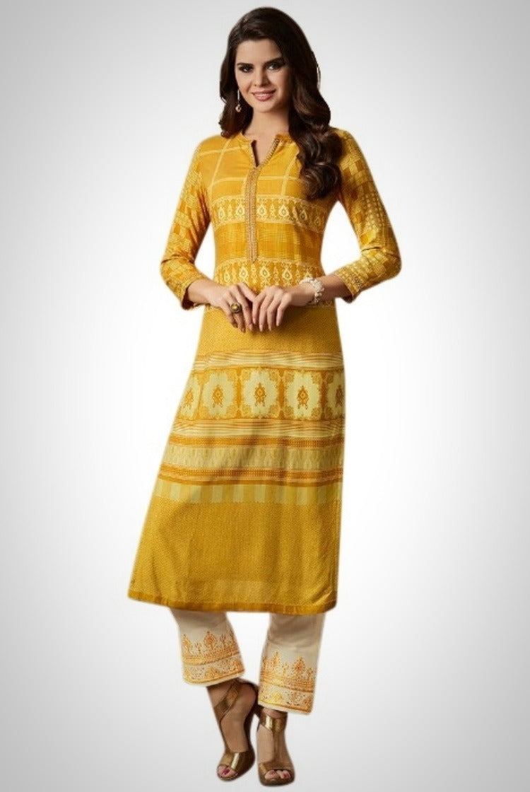 Printed Embroided Kurti & Pants set - Yellow