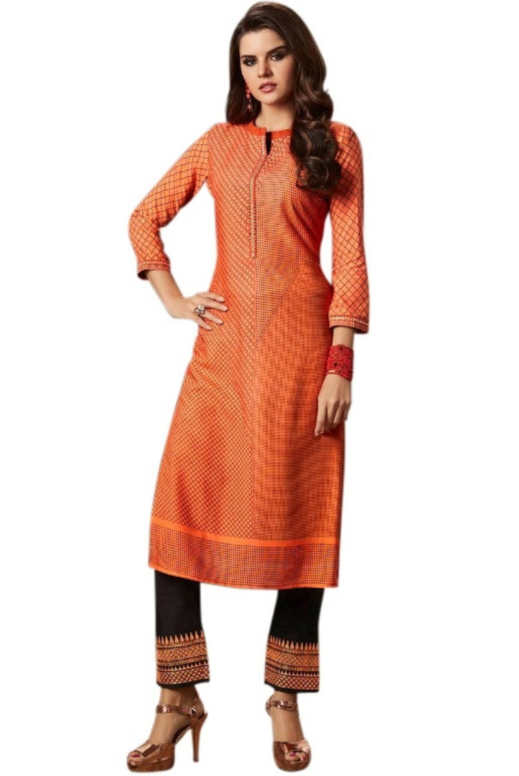 Printed Embroided Kurti & Pants set - Orange