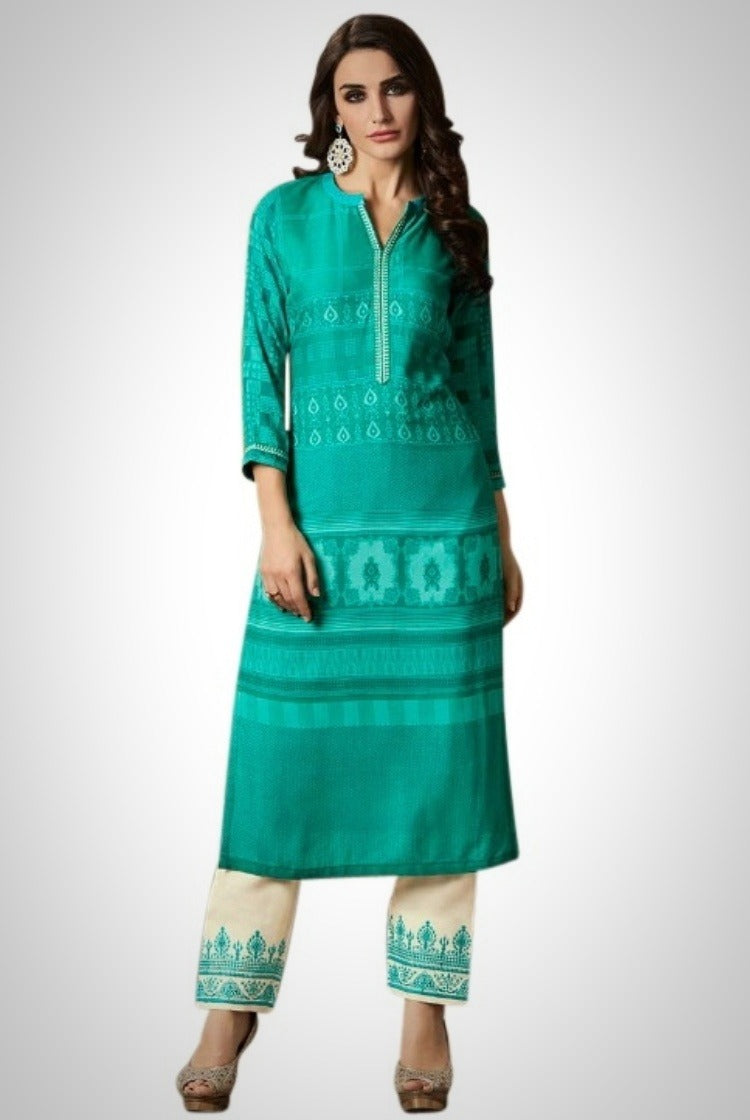 Printed Embroided Kurti & Pants set - Sea Green