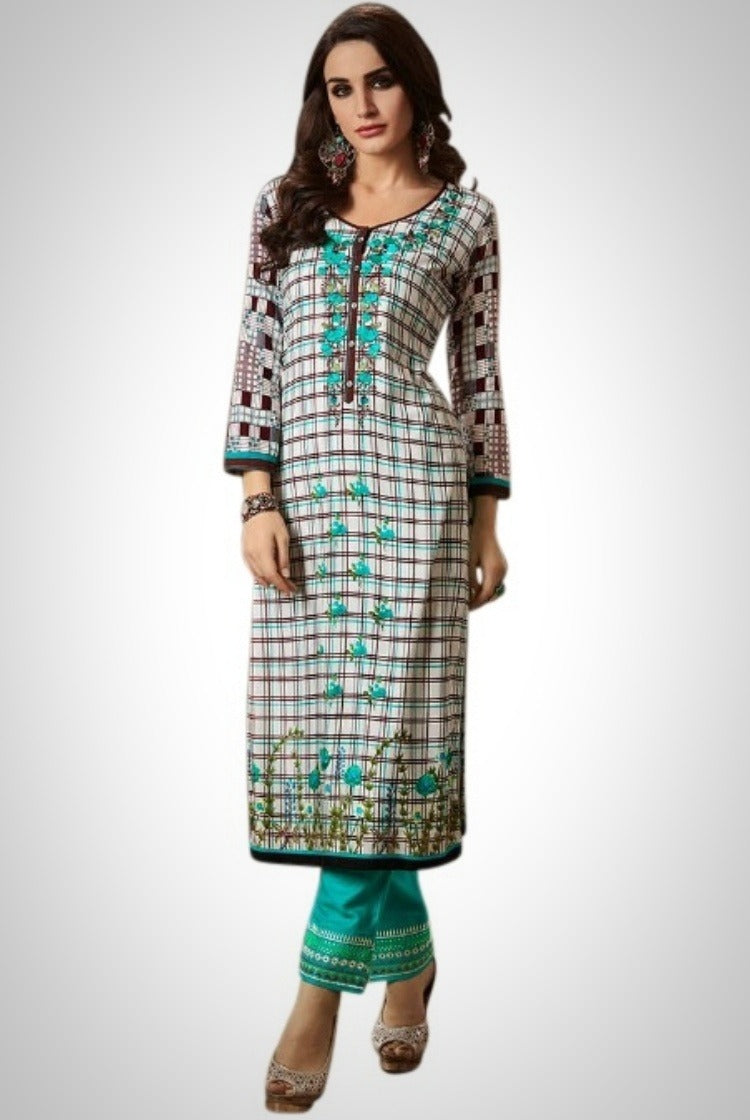 Printed Embroided Kurti & Pants set - White-Green Check