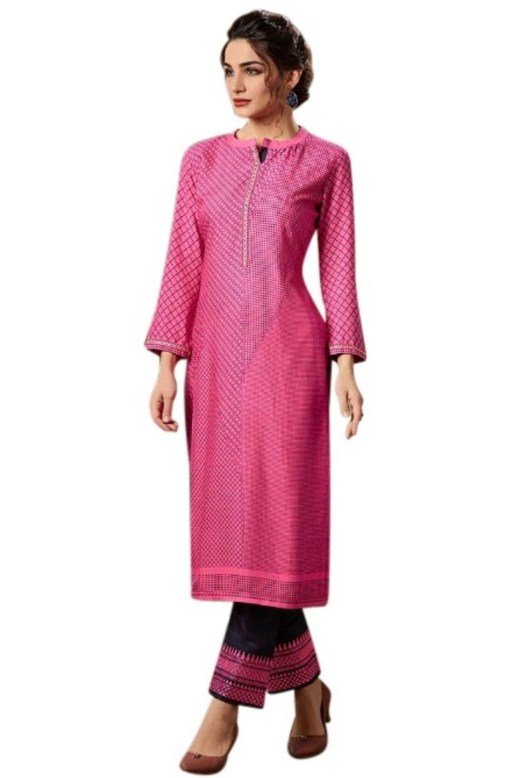 Printed Embroided Kurti & Pants set - Pink