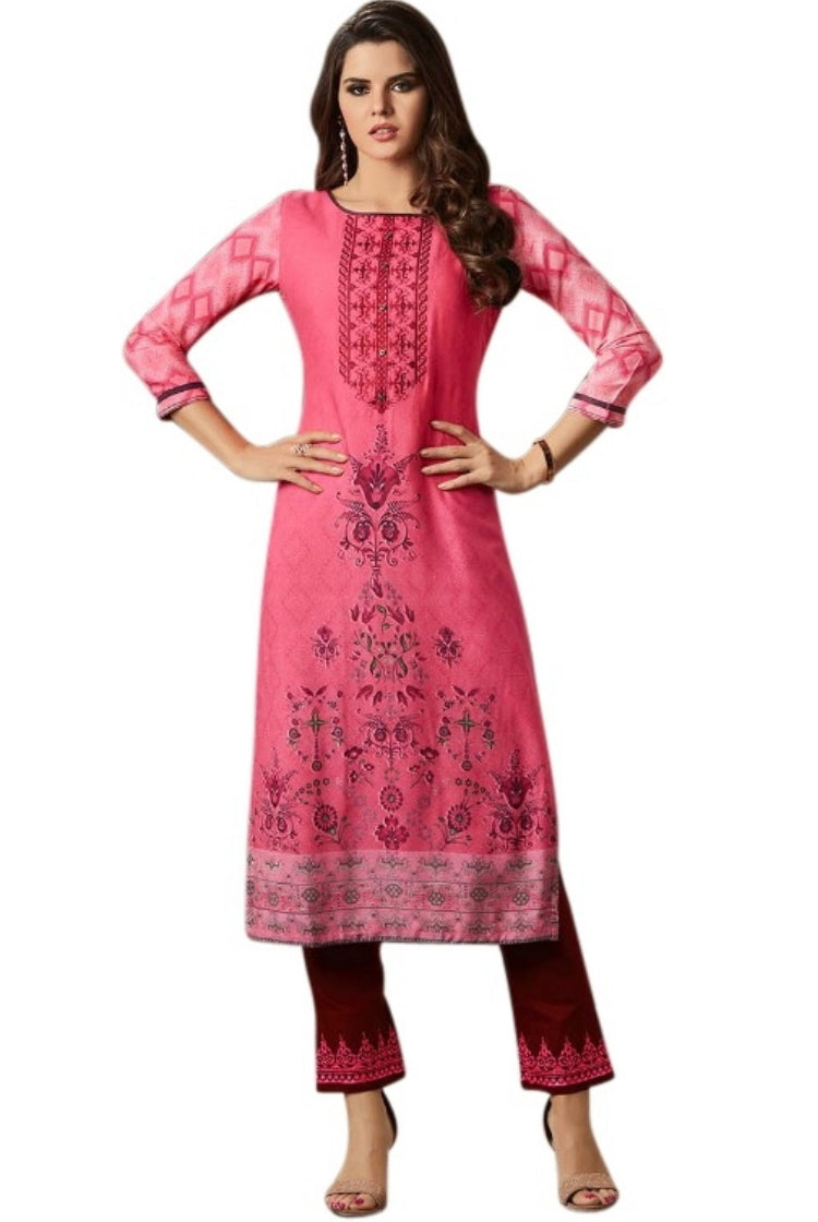 Printed Embroided Kurti & Pants set - Dark Peachy Pink