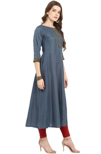 Bluish Grey Poly Silk Anarkali Kurti