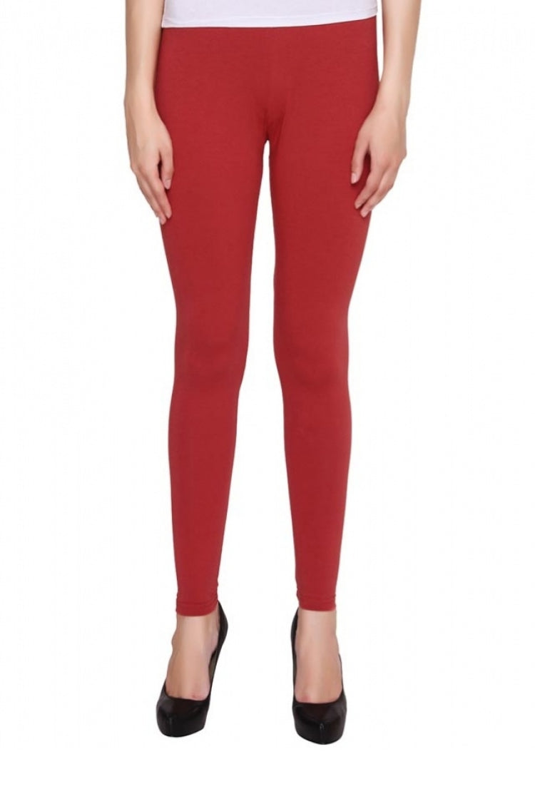 Red Ankle Length Legging