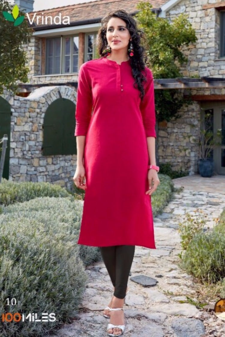 Cotton Collar Kurti in Red