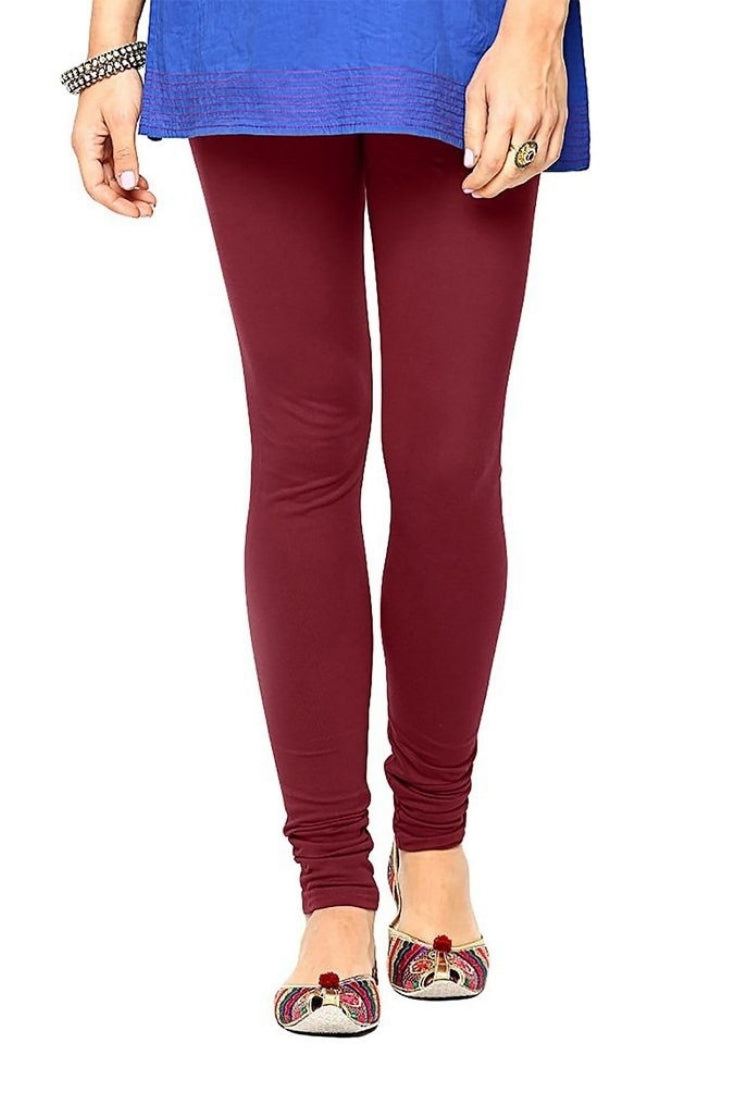 Dark Red Shade Churidar Legging