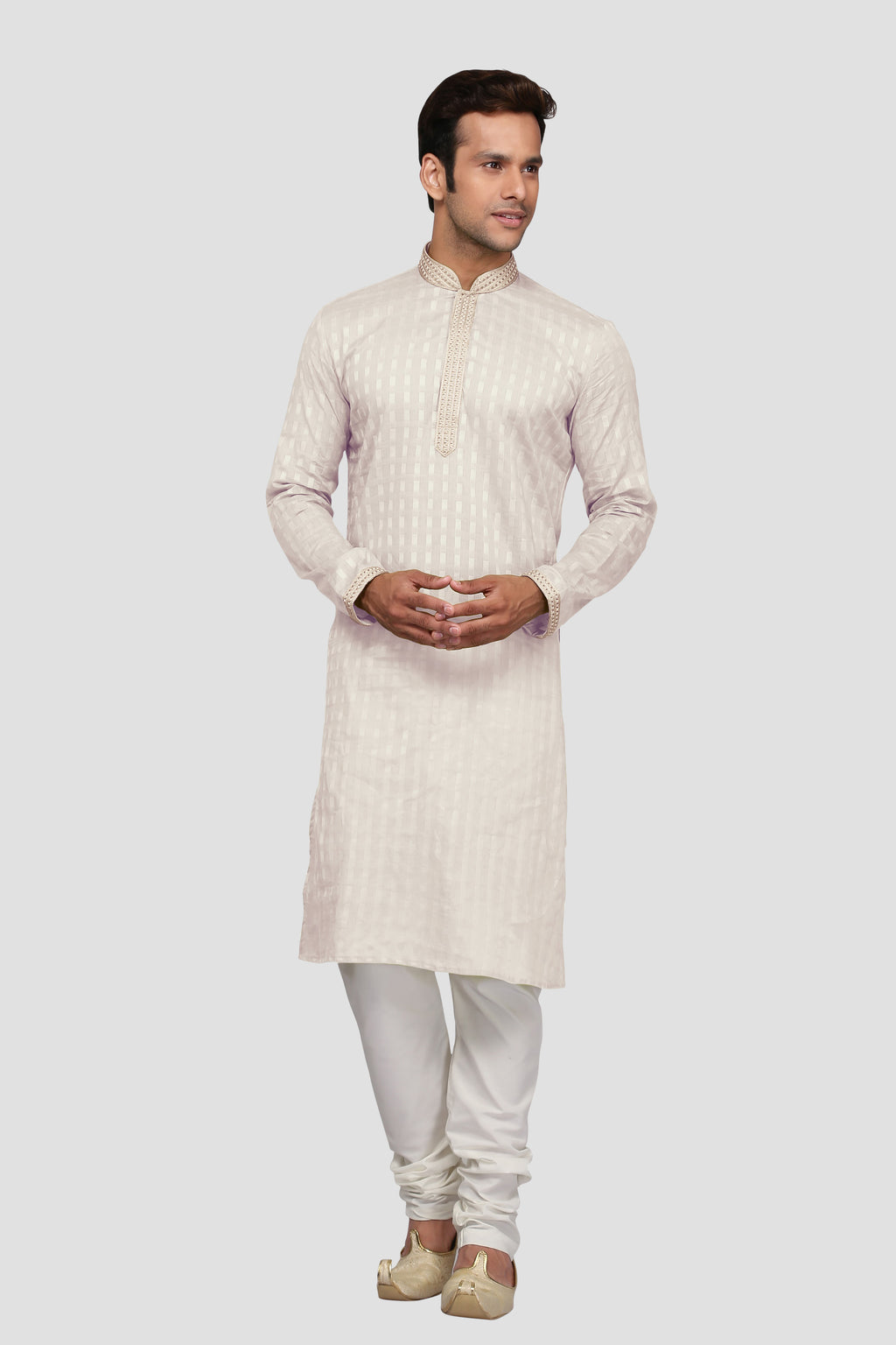 Ethniz - Men's Offwhite self Check Print Kurta with Churidar
