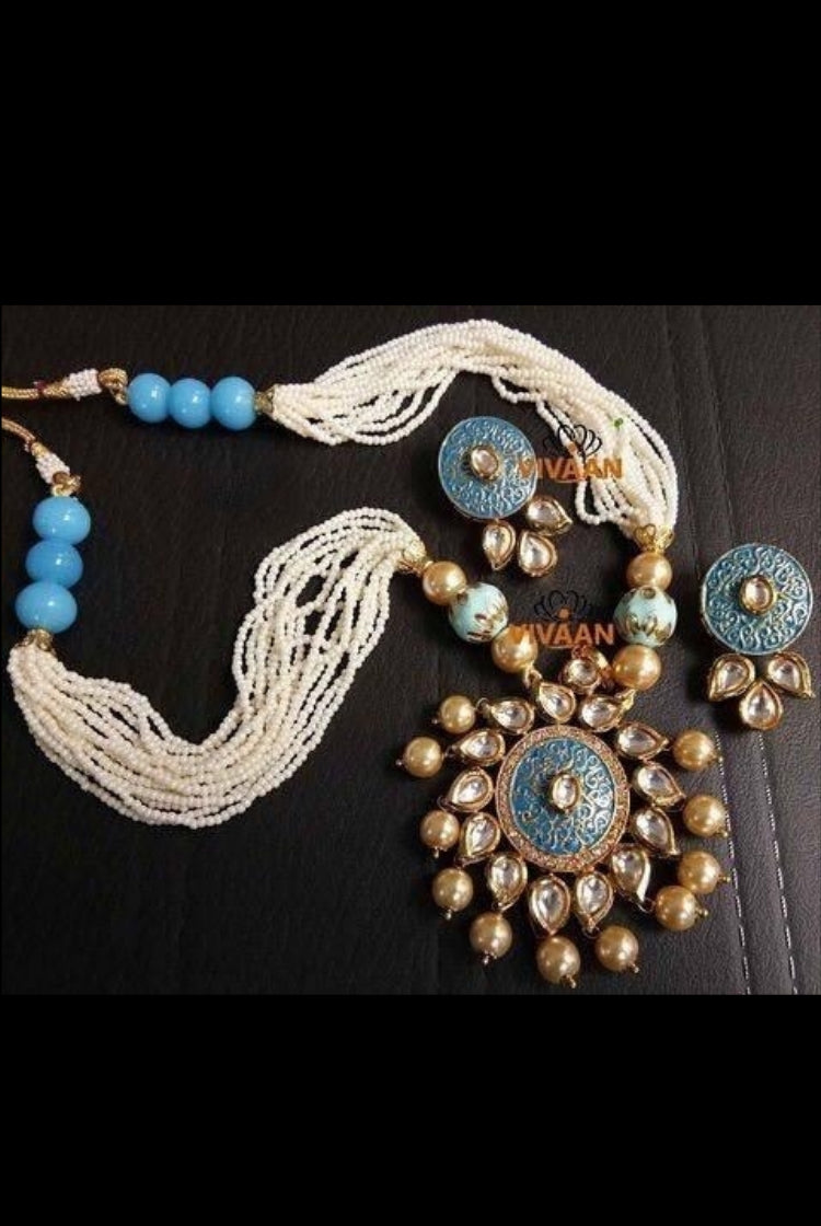 White & Sky Blue kundan Necklace Set