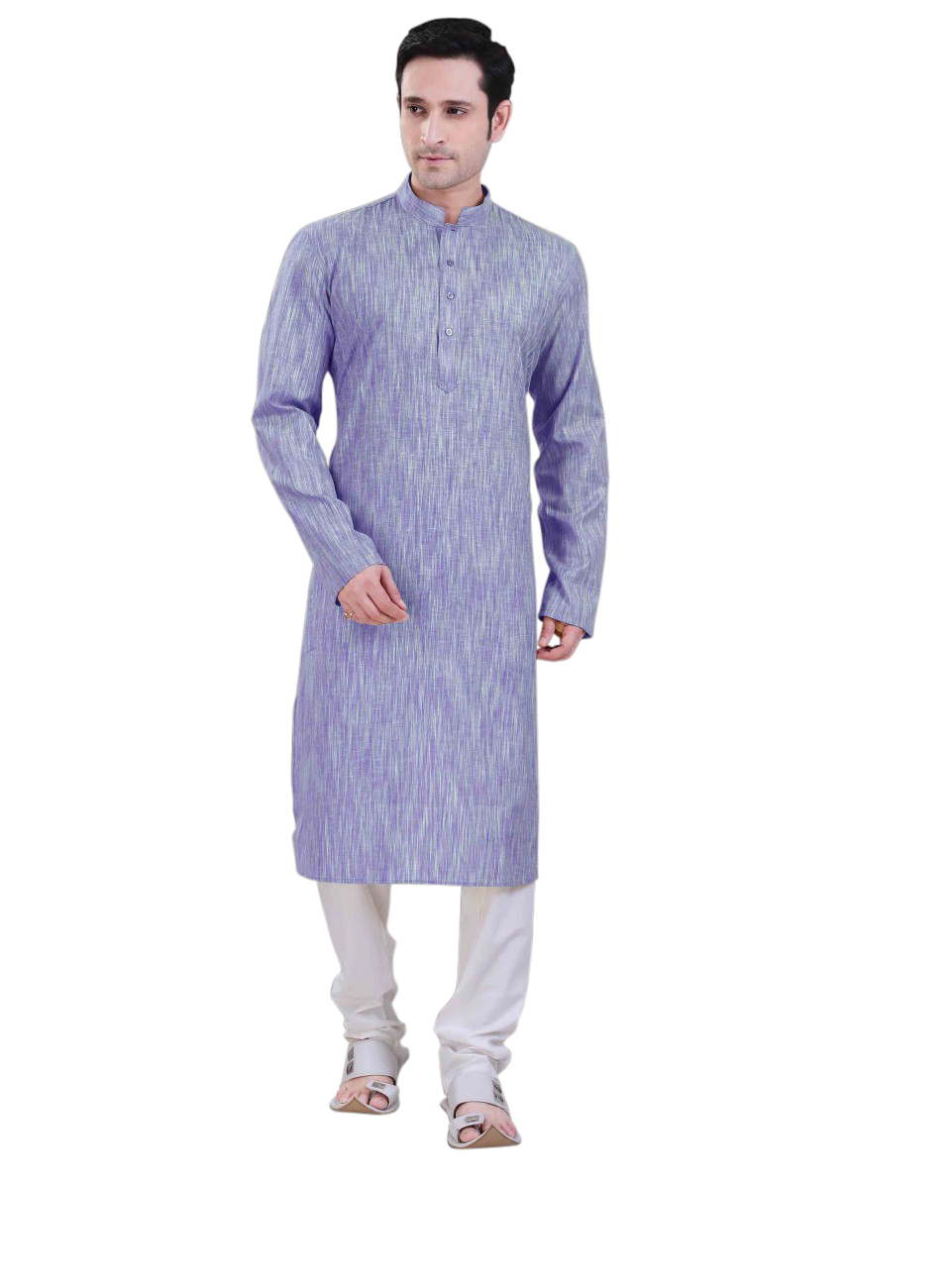 Ethniz - Men's Poly Cotton Blue Kurta with Churidar
