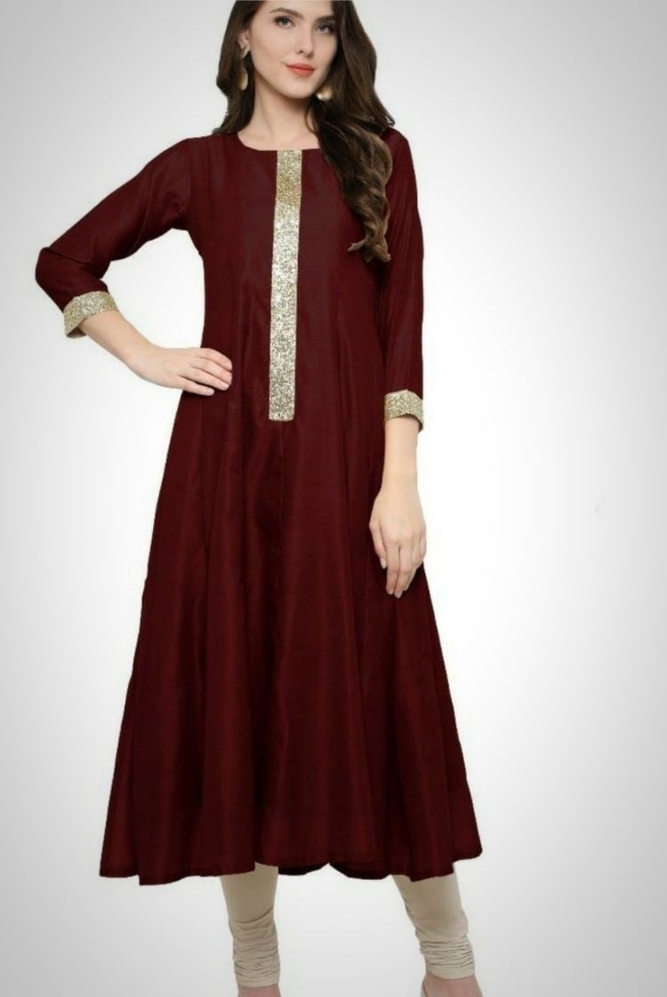 Red Poly Silk Anarkali Kurti