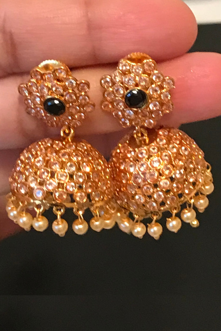 Small Jhumkis with Black stone