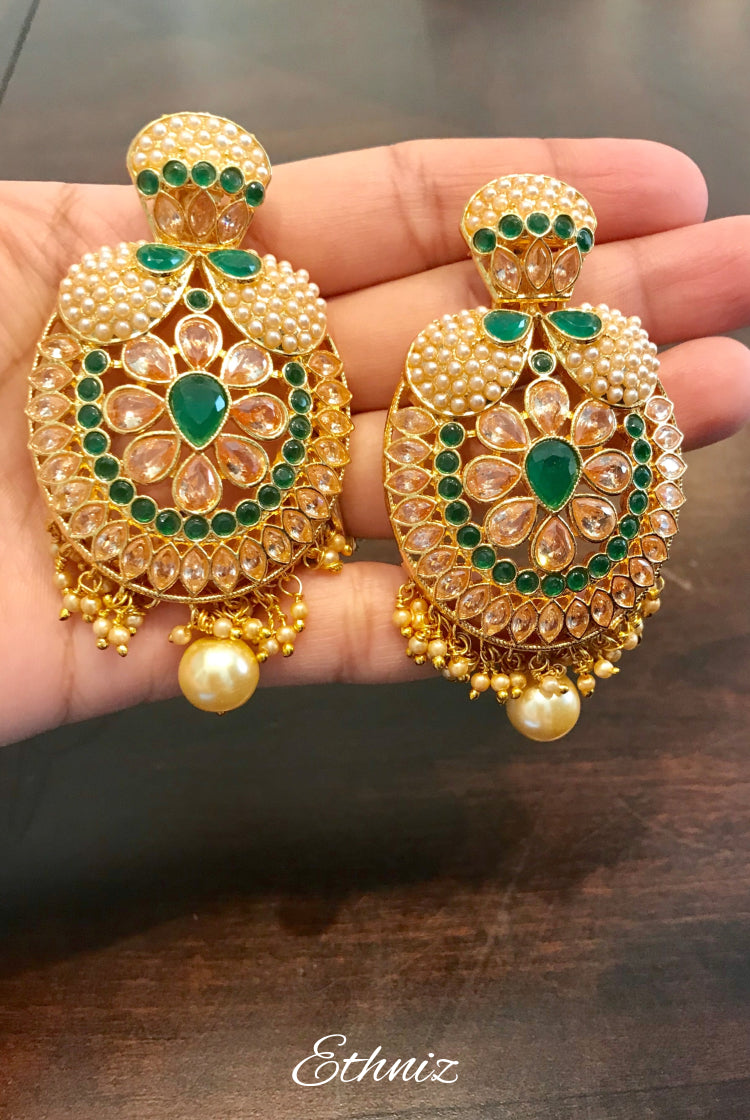 Green & White Stone earring 009