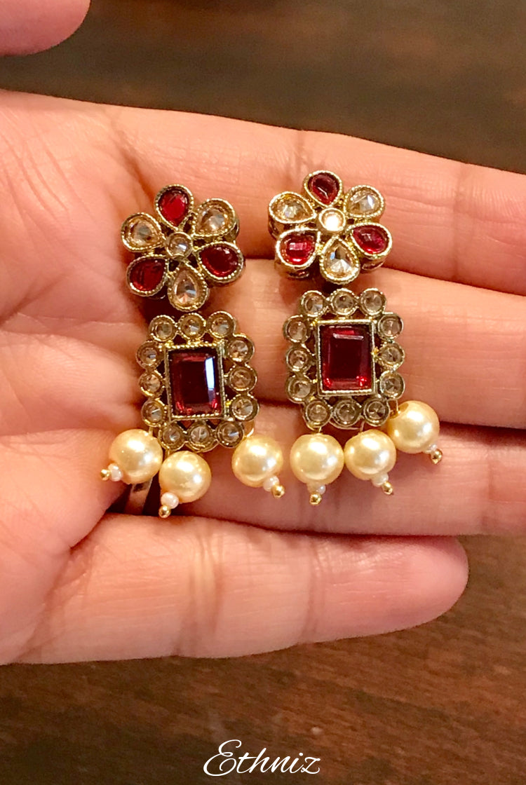 Rose White Gold stone Earring with Red stone and Pearl 003