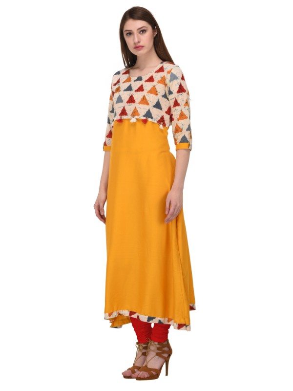 Mustard color A-Line Long Kurti with patterned top and bottom lining
