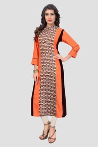 Ethniz - Orange Printed Straight Cut Kurti
