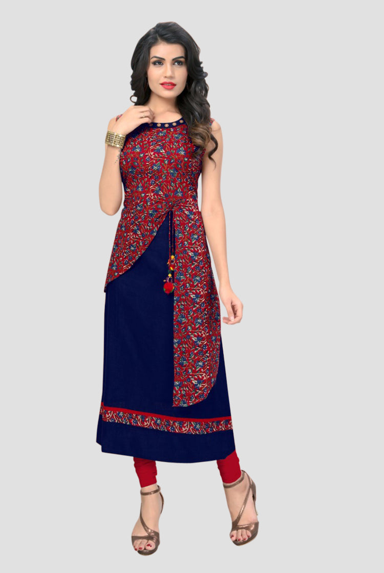 Navy Blue & Red Straight Cut Kurti