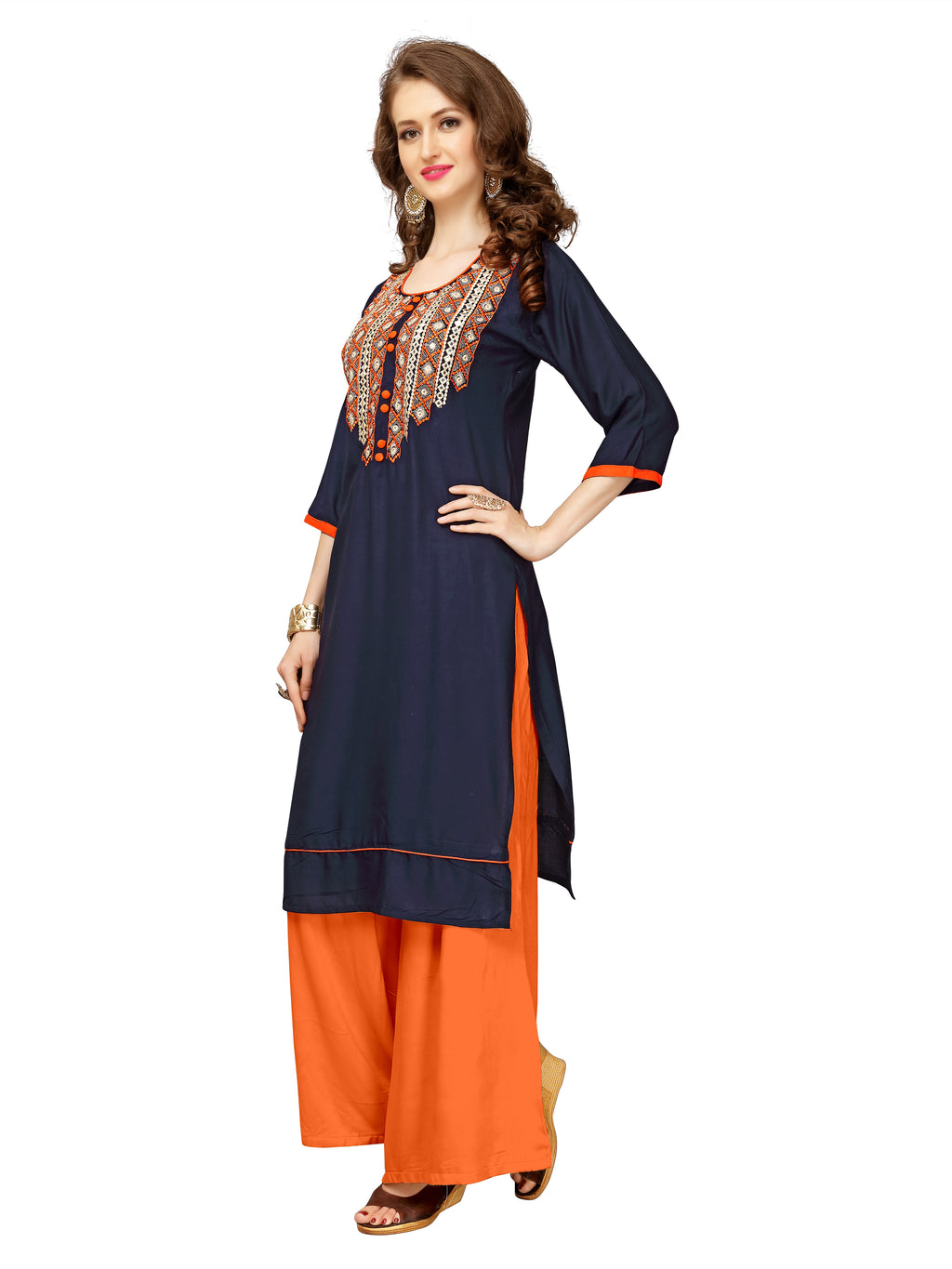 Indigo Kurti with Orange Embroidery