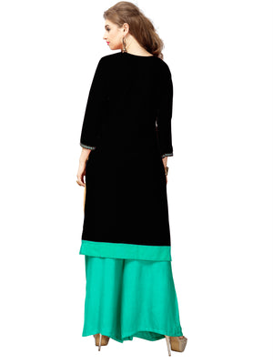 Black Kurti with Sea Green Neck embroidery