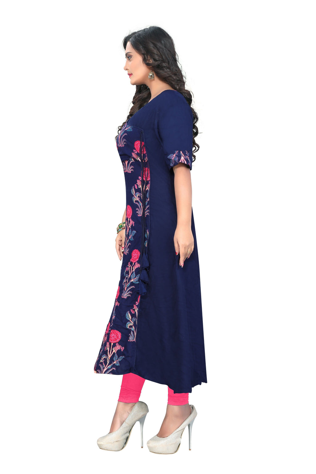 A-Line Navy Blue Kurti with Flower embroidery