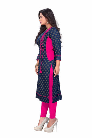 Blue Kurti with side thread work in Pink