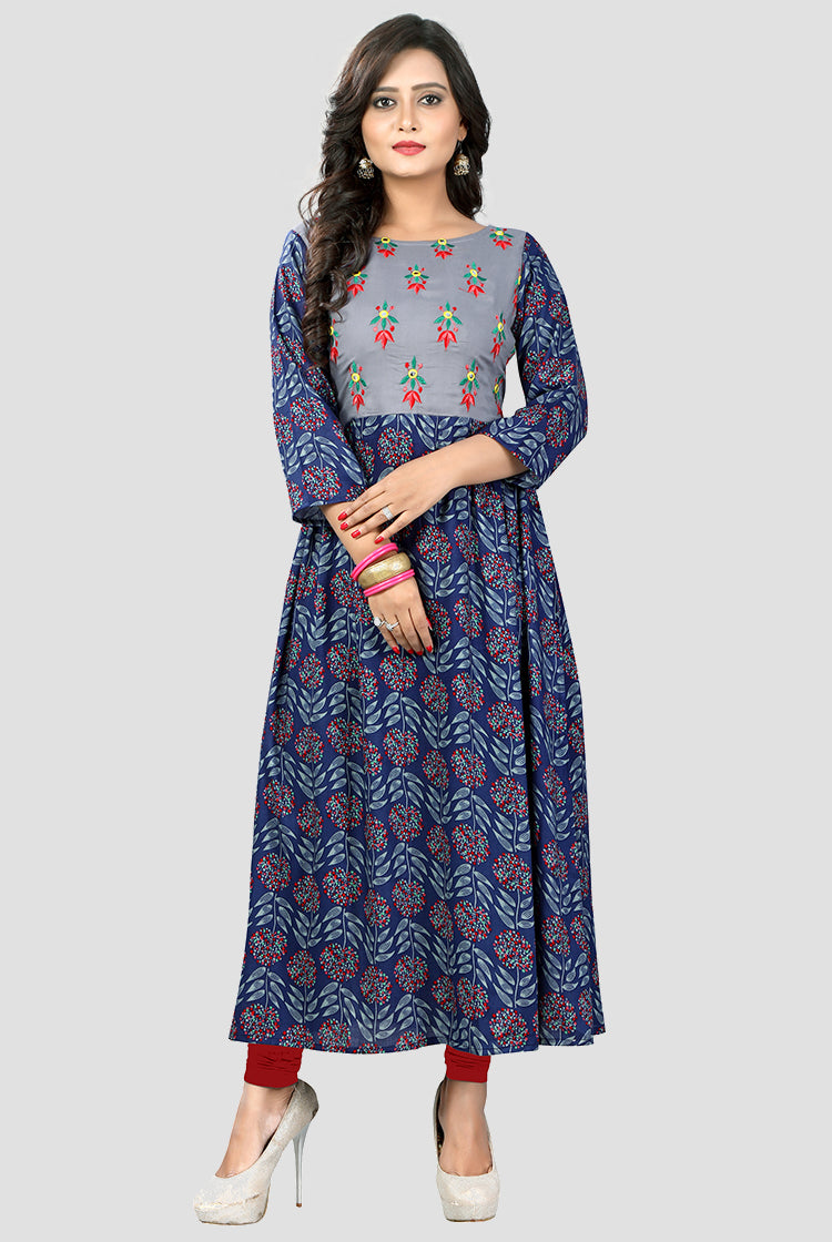 Grey and Blue Printed Kurti with Flower embroidery