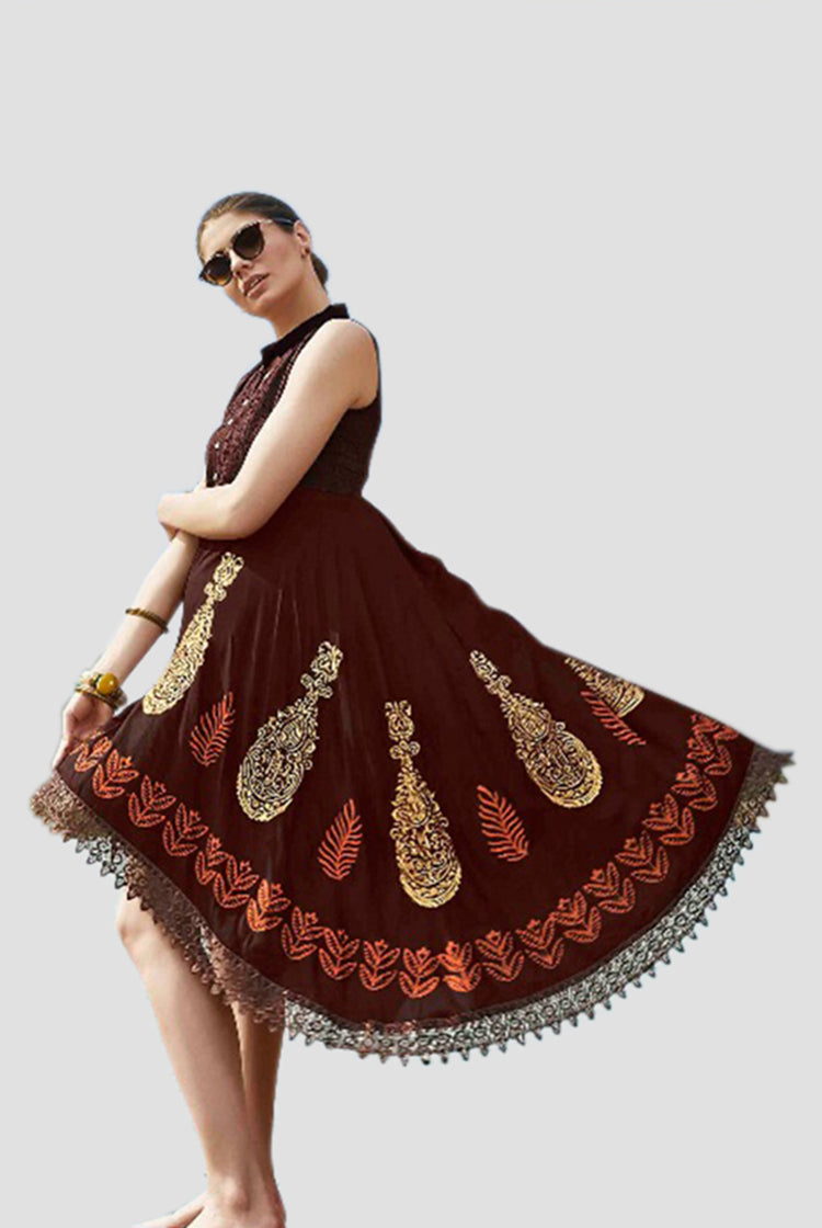 Ethniz - High Low Cut Printed sleeveless Kurti with Lace - Hickory
