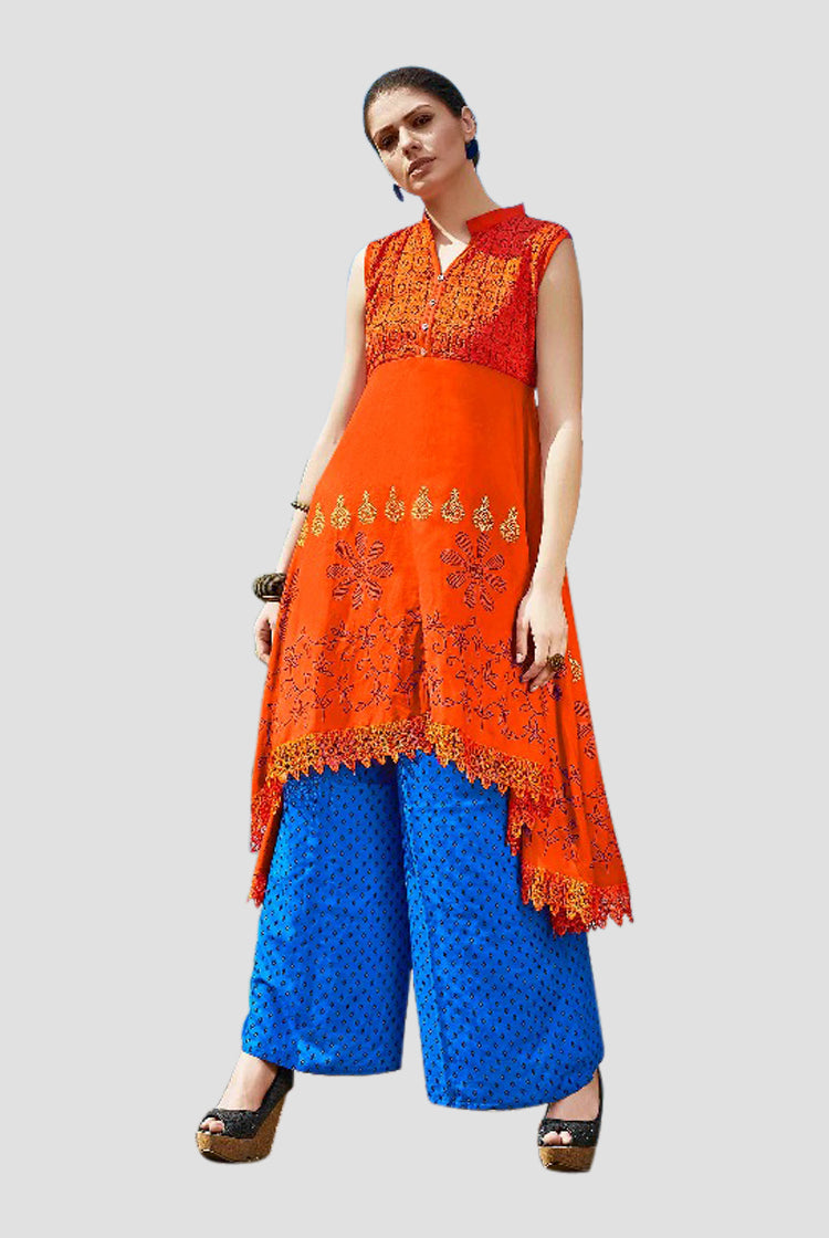 Ethniz - High Low Cut Printed sleeveless Kurti with Lace - Orange