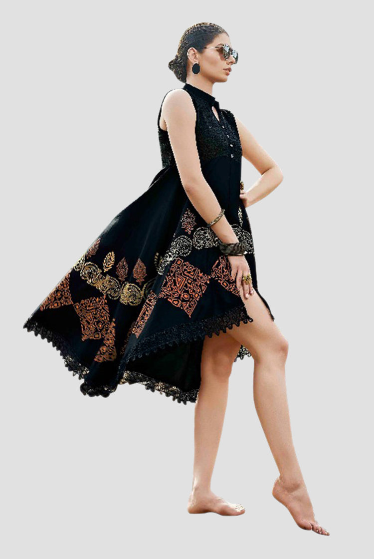 Ethniz - High Low Cut Printed sleeveless Kurti with Lace - Black
