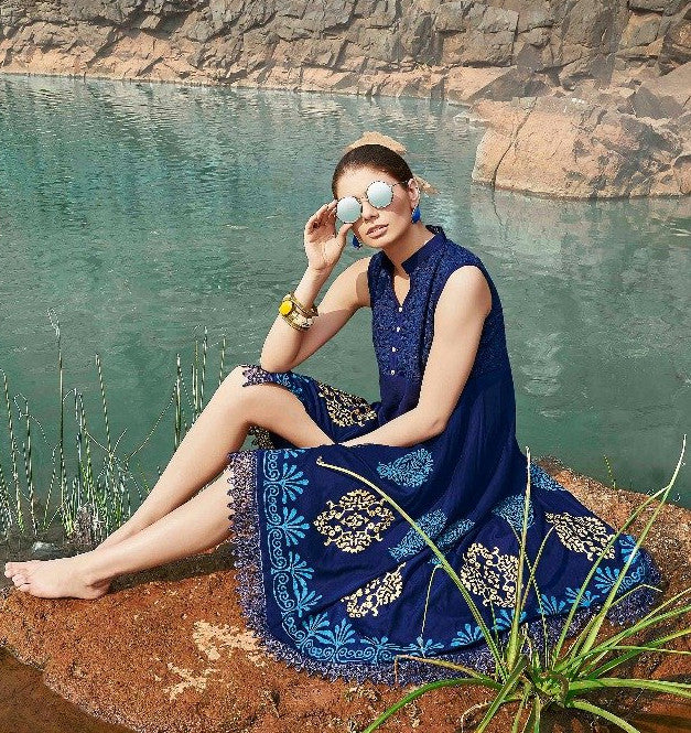 Ethniz - High Low Cut Printed sleeveless Kurti with Lace - Blue