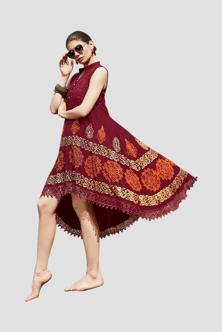 Ethniz - High Low Cut Printed sleeveless Kurti with Lace - Maroon