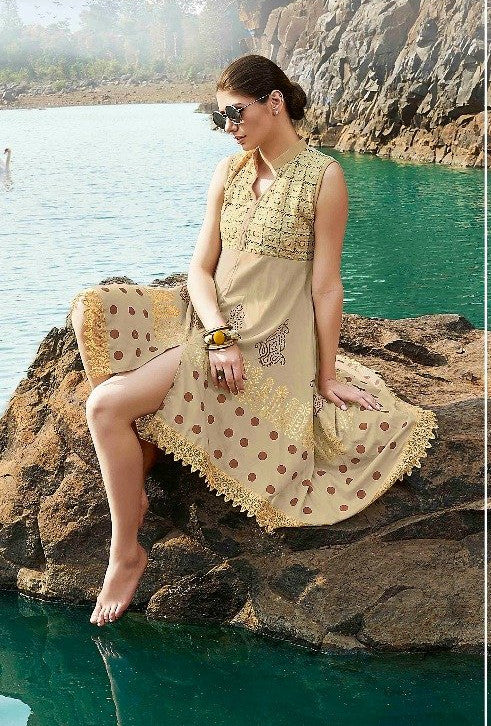 Ethniz - High Low Cut Printed sleeveless Kurti with Lace - Beige