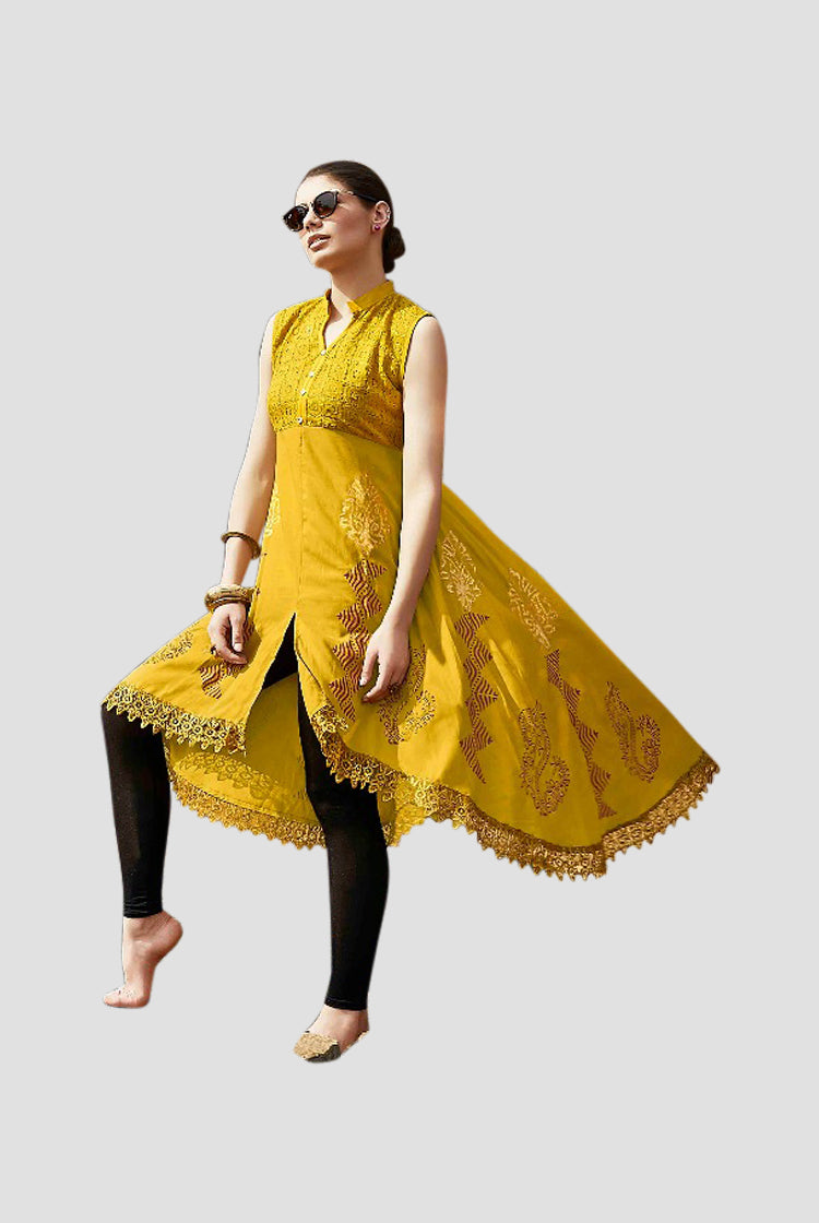 Ethniz - High Low Cut Printed sleeveless Kurti with Lace - Mustard