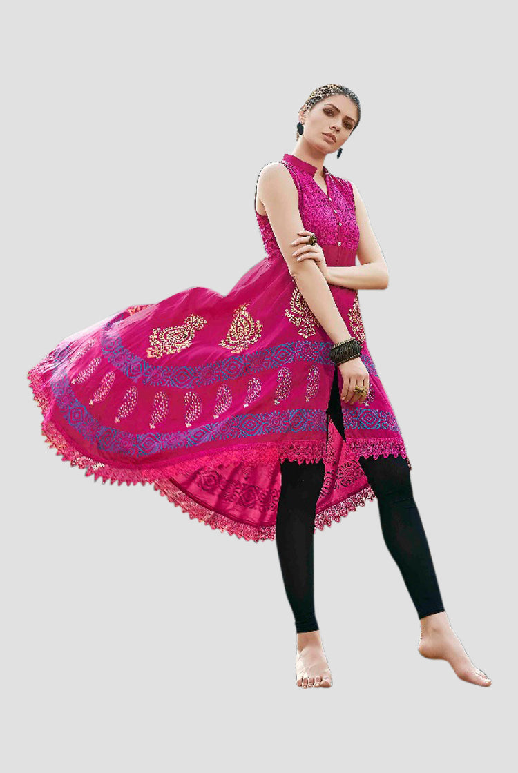 Ethniz - High Low Cut Printed sleeveless Kurti with Lace - Pink